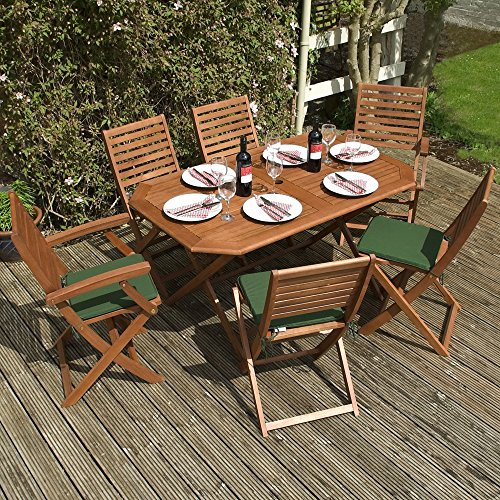 Wooden Garden Furniture Set   6 Seater Folding Dining Set   This 7 Piece  Table   Chairs Set Is The Perfect Outdoor Living Addition To Your Patio. Wooden Garden Furniture Sets  Amazon co uk
