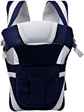 HOLME'S Baby Polyester Adjustable Hands-Free 4in1 Carrier Bag with Comfortable Head Support and Buckle Straps (Navy Blue, HOLMS_Carrier_Navy Blue)