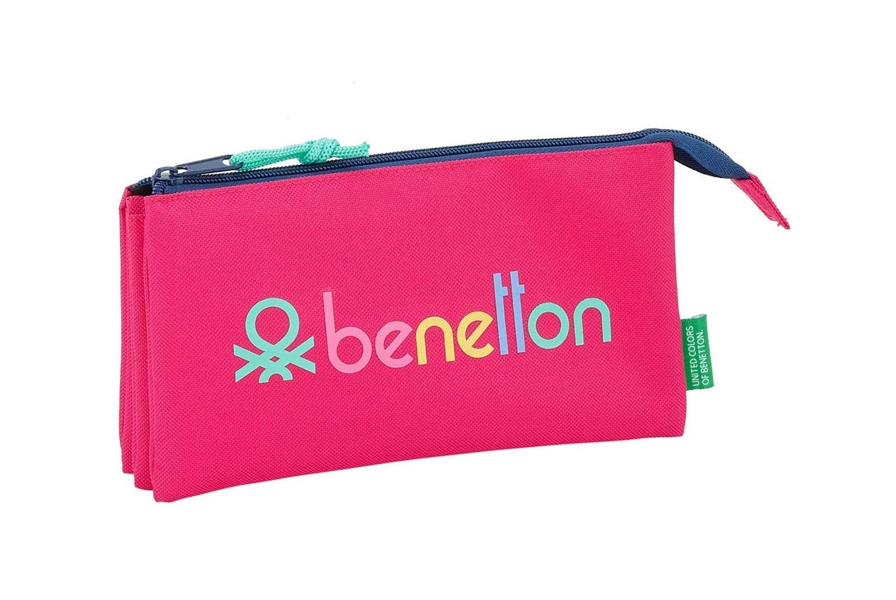 Benetton- PORTATODO TRIPLE UCB RUBINE RED 22x12x3, Multicolor (Safta 841914744)