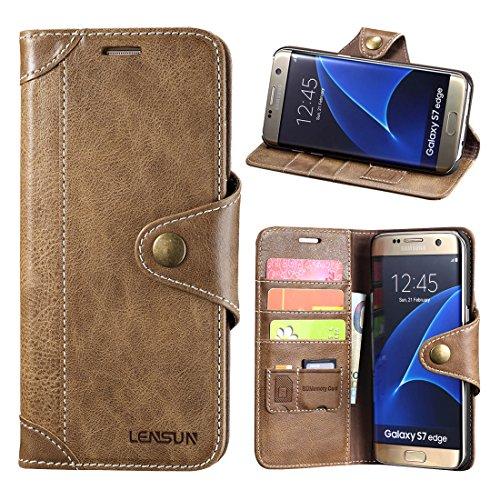 Samsung Galaxy S7 Edge Hülle, Lensun Handyhülle Handytasche Samsung Galaxy S7 Edge (5.5 Zoll) Leder Tasche Huelle Flip Case Ledertasche Schutzhülle - Kaffeebraun (S7E-GT-CE)