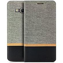 Funda Samsung Galaxy Grand Prime [Zanasta Designs] Cubierta Carcasa Flip Case Tapa Delantera con Billetera para Tarjetas Protectora de Alta Calidad, Cierre Abatible Gris