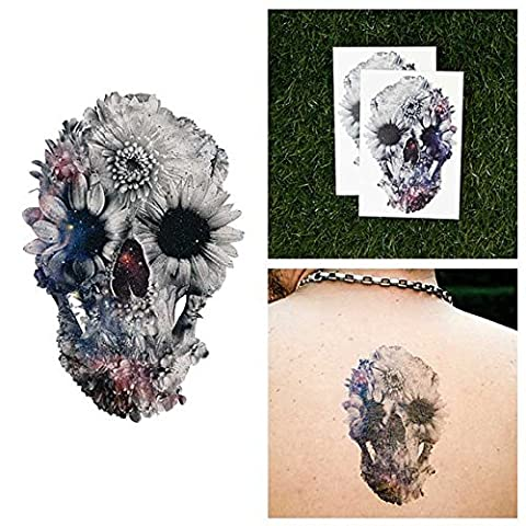 Tattify Space Collage Skull Temporary Tattoo - Blossom (Set of