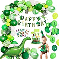 Yansion 57 Pack Dinosaur Party Decorations Dino Party Balloons Garland Kit with Jungle Foil Balloon and Birthday Banner - Dinosaur Set Party Favors Toys for Kids Boys
