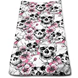 """WITHY Skull Flowers Pink Cherry Super Soft Polyester Extra-Absorbent Bath Towel Hand Towel Hair Towel 11.8"""" X 27.5"""""""