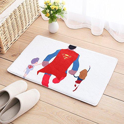 Preisvergleich Produktbild Kinder's Cartoon cat bed Teppich matten Bad Küche rechteckig Tür Fußmatte Fußmatte Wasser, 40 cm*60 cm, Superman Vati