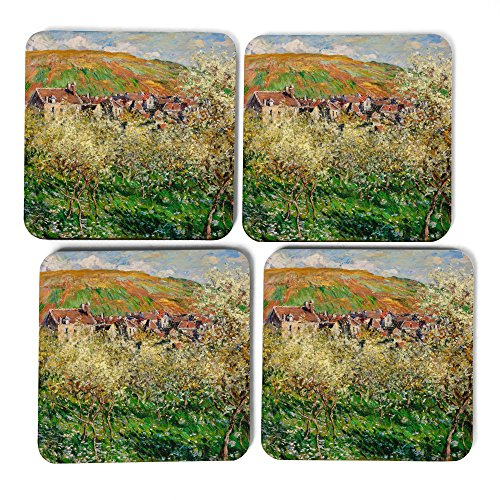 set-of-4-square-coasters-claude-monet-flowering-plum-trees-9x9cm-high-gloss-coasters-free-delivery