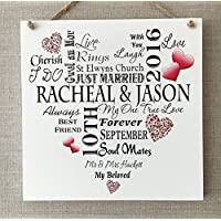 Personalised Wedding Anniversary Engagement Typography Wooden Plaque Sign Keepsake Unique Gift W21h