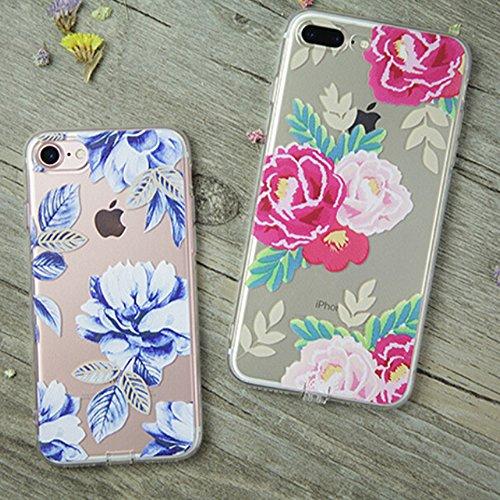 """iPhone 7Plus Hülle, Retro Flower Series CLTPY iPhone 7Plus Dünne Matt Malereifarbig Weich Silikon Handytasche, Kreativ Leichtbau Protektiv Schale Fall für 5.5"""" Apple iPhone 7Plus (Nicht iPhone 7) + 1  Rosa Pfingstrose"""