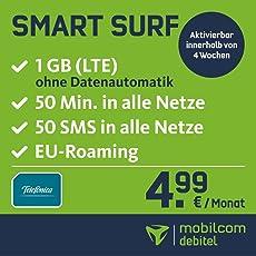 Smart Surf mit 1GB LTE Internet Flat max. 21 MBit/s, 50 Frei-Minuten & 50 SMS in alle deutschen Netze, EU-Roaming, 24 Monate Laufzeit, monatlich nur 4,99 EUR, Triple-Sim-Karten