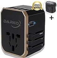 Darko 2020 Universal Travel Adapter Multi Adapter Worldwide 4 USB Fast Charging Type-C Port With UK, US, AUS, EU Plug Adapte