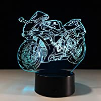 Benbroo Remote Control Lamp 3D Visual Led Night Light 7 Colors 250cc/1000CC Motorcycle On Acrylic Board USB Desk Night Power Supply Micro USB/3 x AAA Battery ...