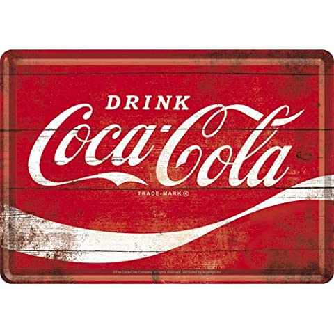 Nostalgic-Art 10275, Coca-Cola–Logo Wave Tôle Carte postale, 10x 14cm, rouge
