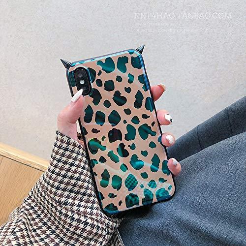 GUYISJK iPhone-Handyhülle Mobile Shell Leopard Devil Horn Blu-Ray Cover Women's Mobile Phone Case, 6P 6Splus [Braun] Fell, Horn