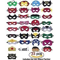 33 Piezas Máscaras de superhéroes, Suministros de fiesta de superhéroes, Máscaras de superhéroes de cosplay, Superhéroes Incluidos: Pantera negra, Capitán América, Superhombre, Hombre de hierro, Máscaras de media fiesta para niños o Niños y niñas mayores de 3 años (33 piezas)