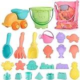 Mingfuxin Beach Sand Toys Set for Kids Toddlers 23PCS Sandbox Beach Toys with Sand Truck Bucket Shovels Rakes Beach Castle An