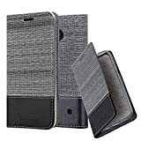Cadorabo Book Case works with Nokia Lumia 550 in GREY BLACK
