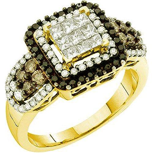 1,00Karat (ctw), 14K Gelb Gold Round & Princess Cut weiß, braun & schwarz Diamant Damen Cocktail Ring (1-karat-diamant Ring Princess Cut)