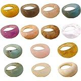 ريترو ملون الراتنج الاكريليك خواتم مجموعة واسعة سميكة قبة المفاصل الإصبع تكديس حلقة مشترك خمر مجوهرات أنيقة 18 مم للبنات