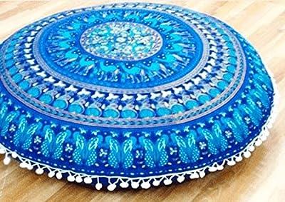 zulistore Boden Kissen groß rund 800mm blau Farbe 100% Baumwolle * Keine Stickerei