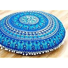 Zulistore Cojín de suelo redondo grande, 830mm de diámetro, color azul, 100% algodón, sin bordado