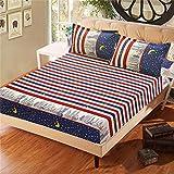 PENVEAT Floral bedrucktes Spannbetttuch und Kissenbezug Polyester Matratzenbezug Bettwäsche Bettlaken mit Gummiband für Doppel- / Kingsize-Bett, Typ 3.100 x 200 cm x 25 cm