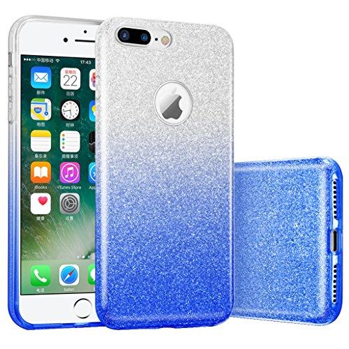 iphone 7 plus case, Hanlesi lucida copertura [bling chiarissimo] [slim fit] 3 strato ibrido con brio premio trasparente tpu custodia per apple iphone 7 Plus 5,5 Inch Cielo blu trasparente