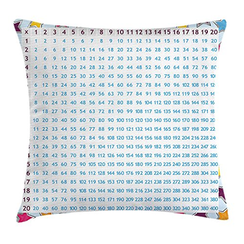 Educational Throw Pillow Cushion Cover by, Chart with Blue Numbers on Colorful Stars Background Calculation Math Counting, Decorative Square Accent Pillow Case, 18 X 18 Inches, Multicolor