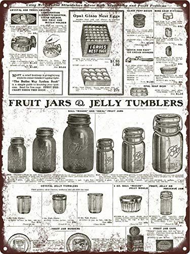 Rebecca Simpson 1922 Fruit Jelly Jars Ball Perfect Mason Ideal Pint Quart Metal Sign 9x12 Pint Mason Jelly