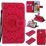 Samsung Galaxy S5 Hülle Leder Blumenprägung, Lomogo Schutzhülle Brieftasche mit Kartenfach Klappbar Magnetverschluss Stoßfest Kratzfest Handyhülle Case für Samsung Galaxy S5 - KATU22256 Rot