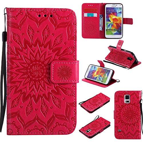 Samsung Galaxy S5 Hülle Leder Blumenprägung, Lomogo Schutzhülle Brieftasche mit Kartenfach Klappbar Magnetverschluss Stoßfest Kratzfest Handyhülle Case für Samsung Galaxy S5 - KATU22256 Rot Video Game Cases Für Galaxy S5