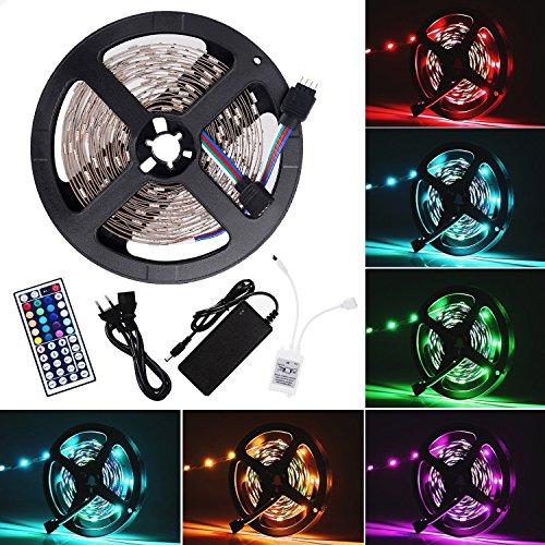 Ruban LED Bande LED Lumineuse - Ruban à LED (5m) 5050 RGB SMD Multicolore 150 LEDs 60W, avec Télécommande à Infrarouge 44 Touches et Alimentation 2A 12V