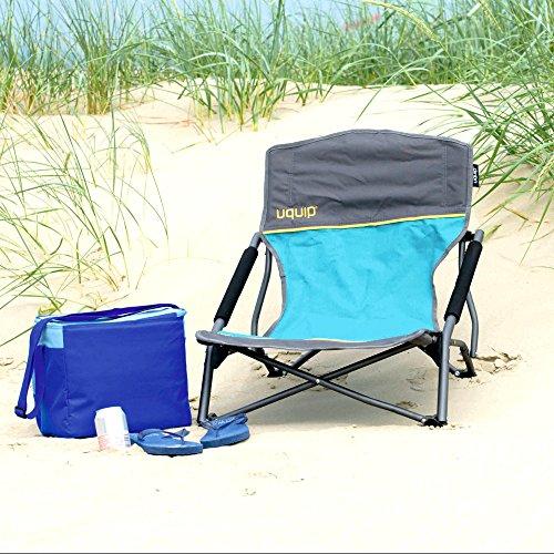 Strandzubehör: Strandstuhl bequemer Klappstuhl | extra stabile Ausführung bis 120kg | robustes 600D Rip-Stop Gewebe | extra breite Standfüße für weichen Boden | Packmaß nur 17x17x65cm | Uquip Sandy 244005 -
