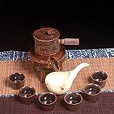 CUPWENH Kung Fu Hustle Kit Thé Théière En Céramique Pierre Ménage Set Tasses,Services À Café Thé Service De Table Porcelaine