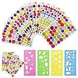 Gudotra 5040 Gomettes Enfants 72 Feuilles Stickers Colorés Autocollants en Motifs Coeur Étoiles Points Colorés pour Développer Créativité Album Scrapbooking Agenda avec 4 Petits Pochoirs(9×15CM)