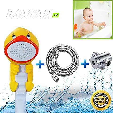 ✔ IMAKAR® Kids Shower Head Set - COMPLETE KIT - with adapter and stainless flexible shower. This child shower head is the best solution for an easy & convenient shower for your child. (DUCK)