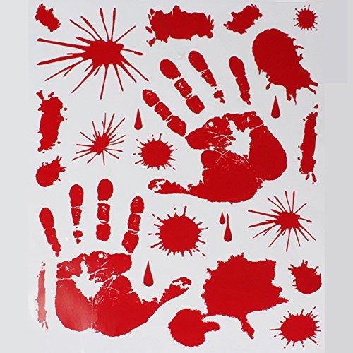 mznm Halloween rot Blut Spuren Fingerabdrücke Dekoration elektrostatische Paste europäischen Design Glas Tapete Wasserdicht Home Decor