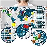 murando - Rubbelweltkarte deutsch Pinnwand - 90x45 cm - grau - Weltneuheit: Weltkarte zum Rubbeln - Laminiert (beschreib- & abwischbar) - Rubbelkarte mit Fahnen/ Nationalflaggen - Inkl. 50 Markierfähnchen/ Pinnnadeln k-A-0250-o-c