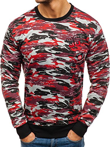 BOLF Herren Sweatshirt ohne Kapuze mit Aufdruck Print Camo Army Motiv J.Style TT28 Grau-Rot L [1A1]