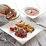 Vancasso Lolita Porzellan Geschirrset, 12-teilig Teller Set für 6 Personen, mit je 6 Speiseteller und Suppenteller - 6