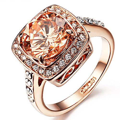 Yoursfs Bague 4 Griffes Femme Homme 18k plaqué Or rose et Solitaire en 3.5CT Diamant carré jaune et Ctistal Cadeau Anniversaire Mariage Fête T54