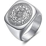 BlackAmazement, anello in acciaio inossidabile 316L, con sigillo dei sette arcangelo e sigillo di colore argento da uomo e da