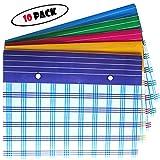 #7: 10 pack A4 Document file bag, multicolour envelope holder storage case, snap button organizer , my clear bag folder