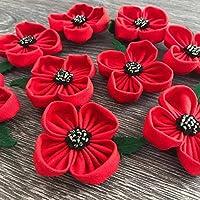 Red Poppy Flower Brooch Pin Hair Clip Accessory
