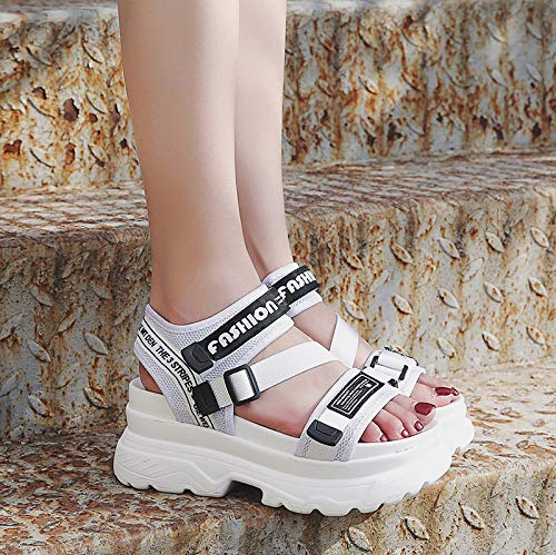 Uhrtimee Sandals Female 2019 Summer New Wild Korean Version of The Thick Bottom Word Buckle Beach Shoes Students Roman Shoes Tide, 35, White (Womens Beach Line Boat Shoe)