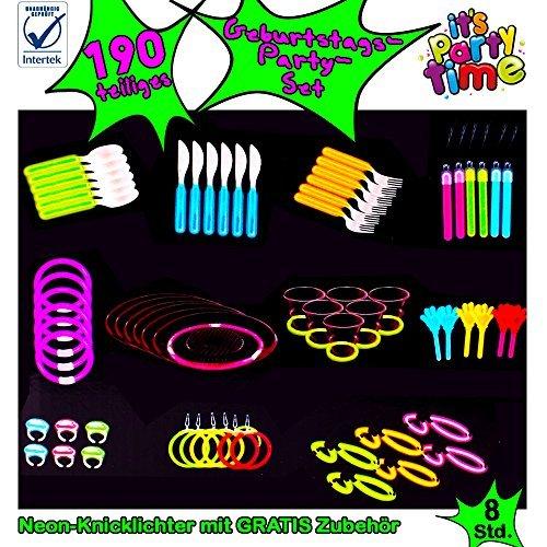 190-teiliges Neon Knicklichter Beleuchtung Stimmung Party Geschirr und Schmuckset 4 Farben Glow Sticks Besteck Armband Brille Ohrringe - Kinder Stimmung Ringe