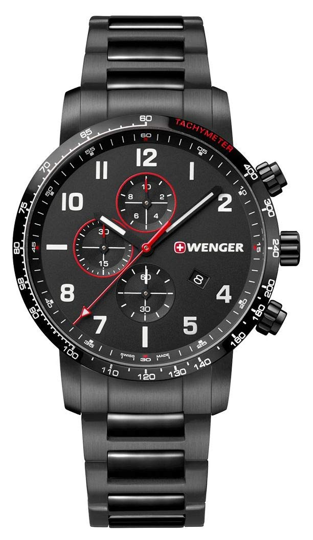 Wenger Men's Attitude Chronograph – Swiss Made Analogue Quartz Stainless Steel Black Watch 01.1543.115