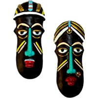 Terracotta Multicolour Home Decorative Wall Hanging Village Couple Mask-15 cm-Handcrafted Decorative Mask for Wall Decor, Room Decor and Gifts