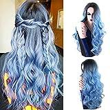 Royalvirgin Nature Couleur Racine foncée Ombre Pastel Bleu Résistant à la chaleur Fibre Cheveux Long Nature Ondule Bleu clair Synthetic Full Wigs...