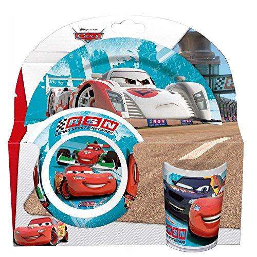 Disney Cars - Set Mélamine Vaisselle (Assiette, Assiette Creuse, Verre)