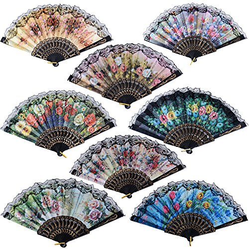 8pcs Abanicos Boda Flamenco Baile Español de Mano Plegables Negro con Patrones Colores Distintos para Regalo Recuerdo Mujer Novia Invitados Detalle Boda Fiesta Baile Arte Material Plástico Tela (A)